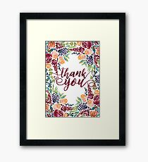 Watercolor Bouquet Hand-Painted Roses Celosia Bilberries Leaves Framed Print