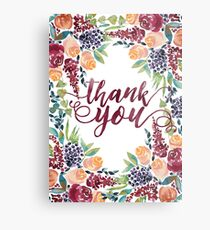 Watercolor Bouquet Hand-Painted Roses Celosia Bilberries Leaves Metal Print