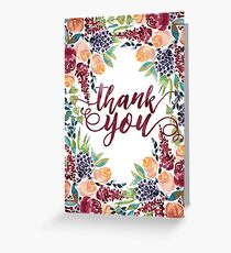 Watercolor Bouquet Hand-Painted Roses Celosia Bilberries Leaves Greeting Card