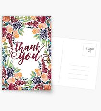 Watercolor Bouquet Hand-Painted Roses Celosia Bilberries Leaves Postcards