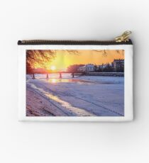 winter sunrise on the bank of ice covered river Uz Studio Pouch