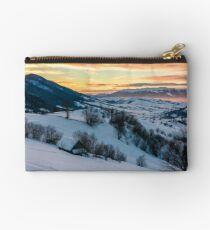 winter dawn in mountainous countryside Studio Pouch