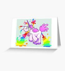 Unicorn makes rainbow Greeting Card