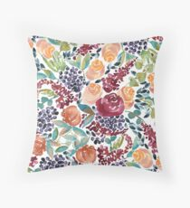 Watercolor Bouquet Hand-Painted Roses Celosia Bilberries Leaves Floor Pillow