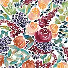 Watercolor Bouquet Hand-Painted Roses Celosia Bilberries Leaves by Beverly Claire Kaiya