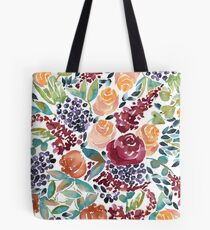 Watercolor Bouquet Hand-Painted Roses Celosia Bilberries Leaves Tote Bag