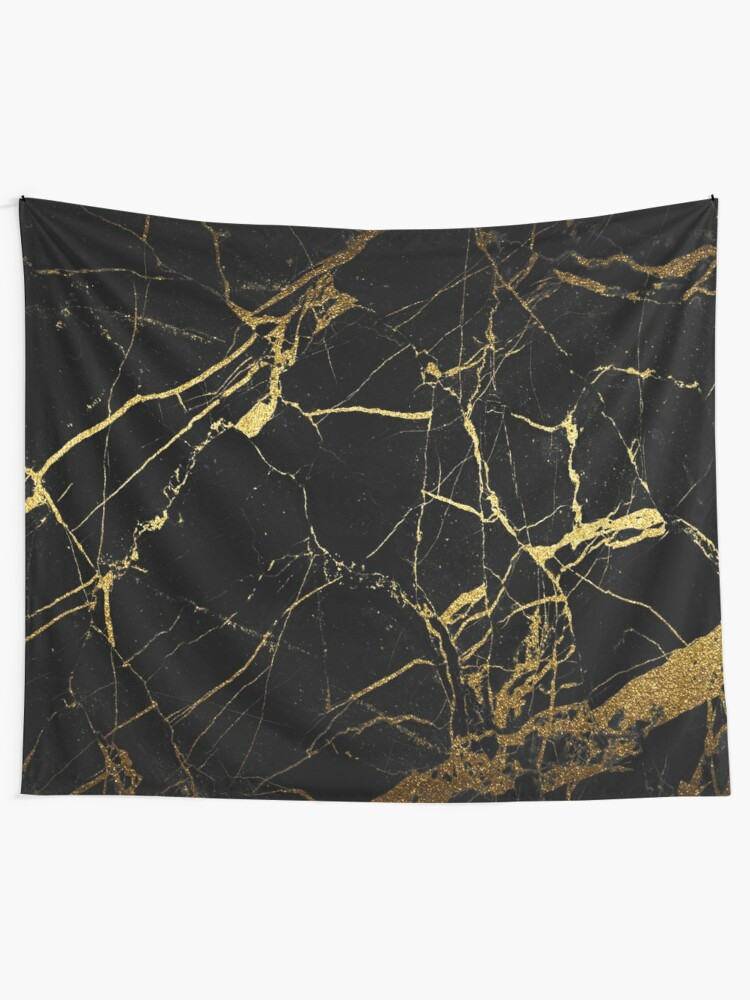 Alternate view of  Black-Gold Marble Impress Tapestry