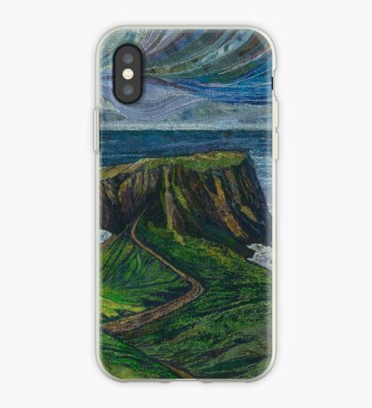 To the Very Edge - Coastal Path Embroidery - Textile Art iPhone Case