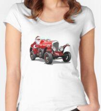 Cartoon Christmas retro car. Women's Fitted Scoop T-Shirt
