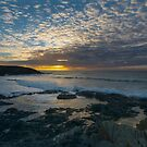 Sunset at Treyarnon point Cornwall by eddiej