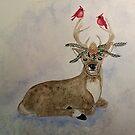 John Deer - Christmas deer, cardinals by CarolOchs