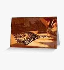 Henna Applied, Henna Tattoo Work, by Bajidoo Greeting Card