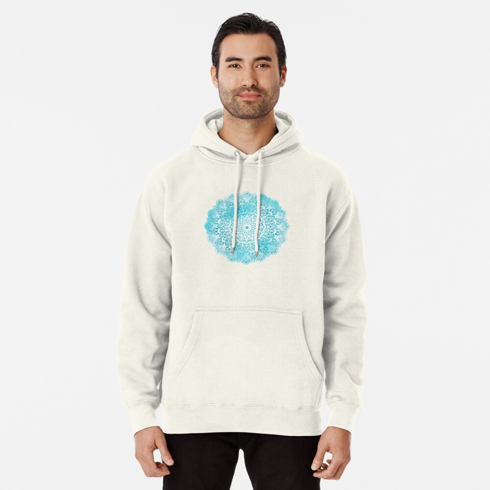 Blue Sky Mandala in Turquoise Blue and White Pullover Hoodie