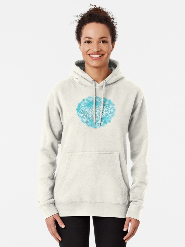 Alternate view of Blue Sky Mandala in Turquoise Blue and White Pullover Hoodie