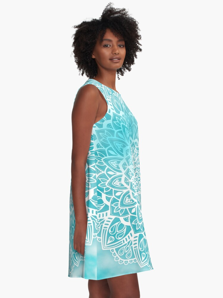 Alternate view of Blue Sky Mandala in Turquoise Blue and White A-Line Dress