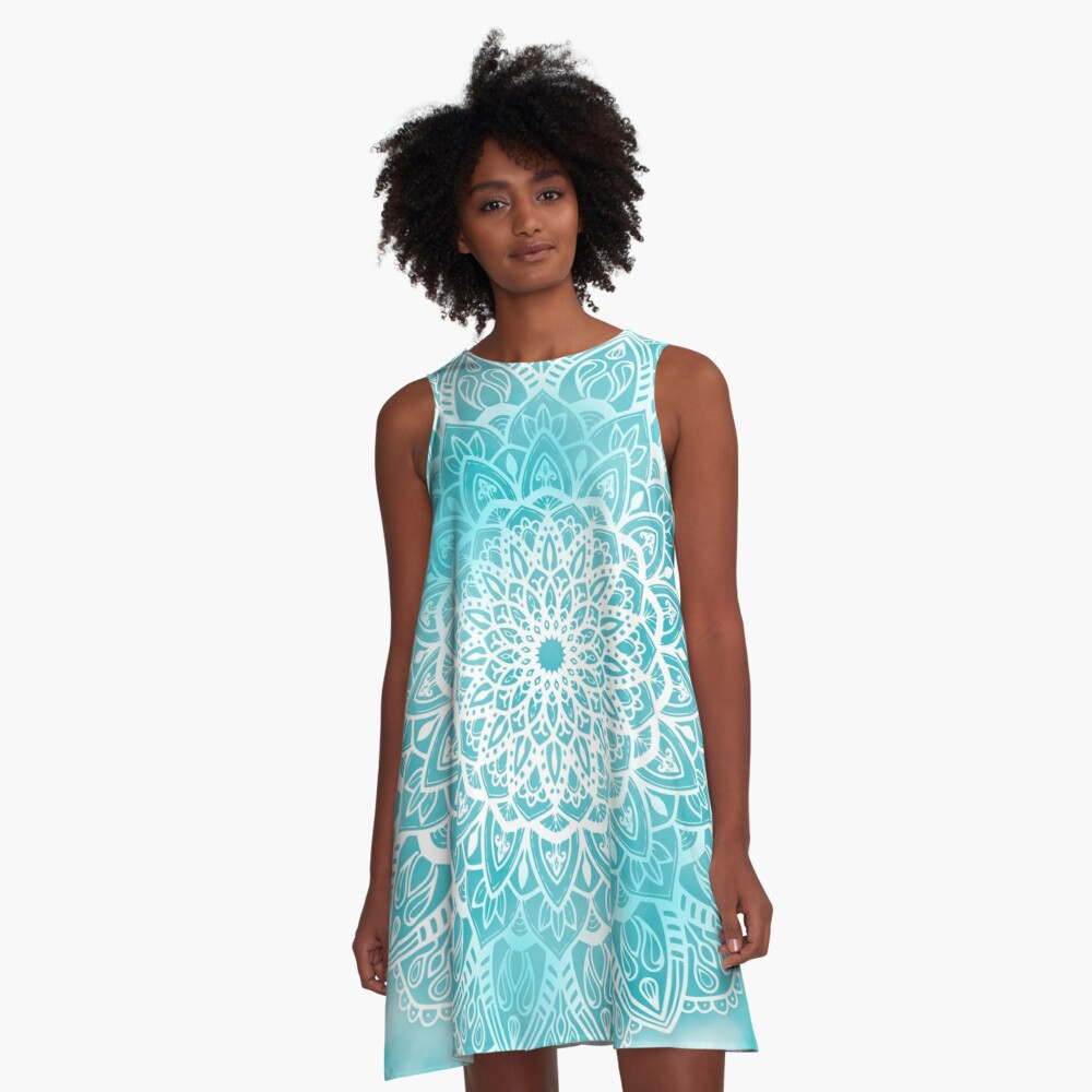 Blue Sky Mandala in Turquoise Blue and White A-Line Dress