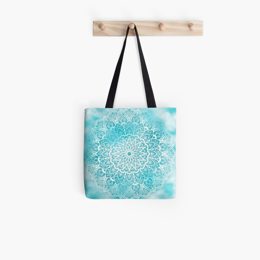 Blue Sky Mandala in Turquoise Blue and White Tote Bag