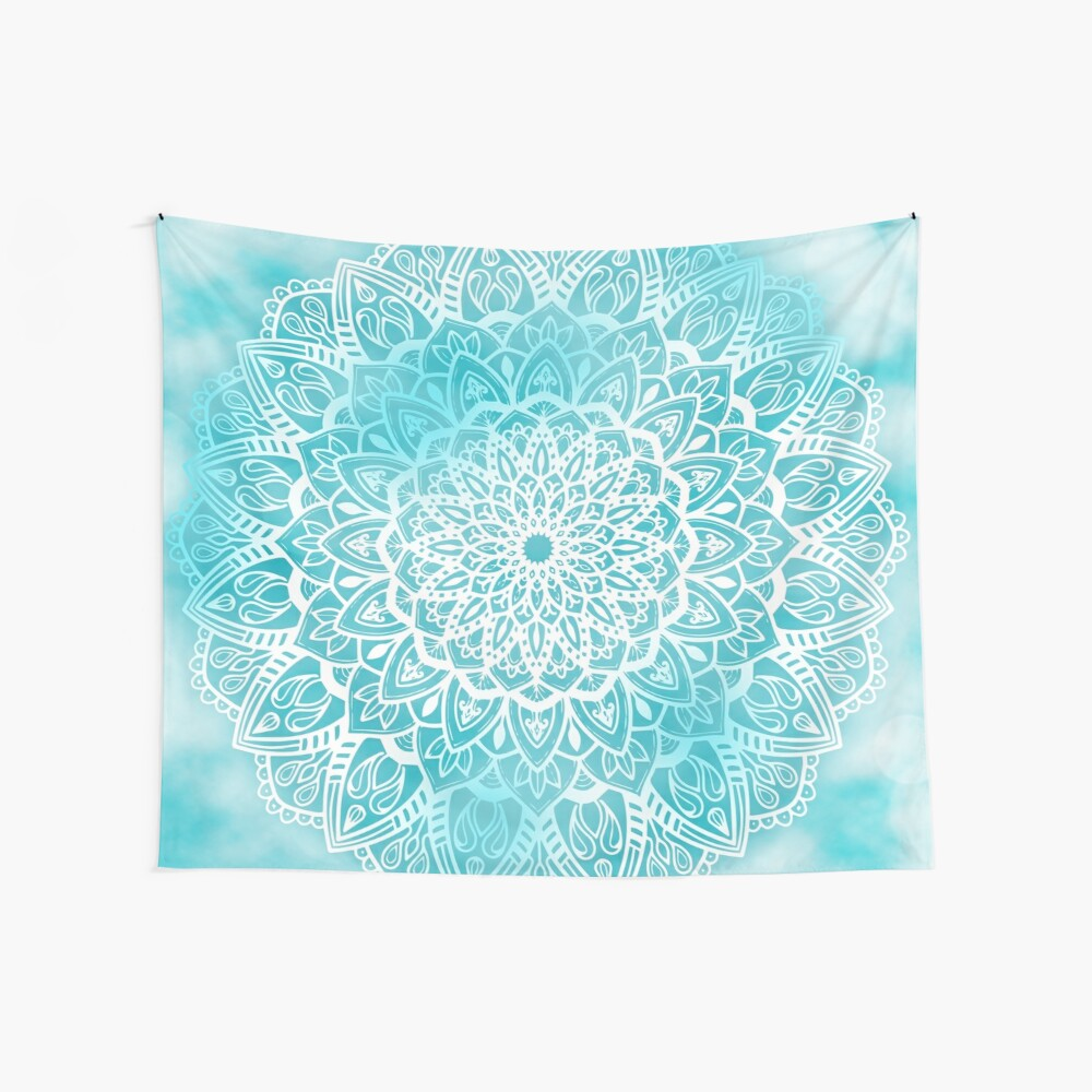 Blue Sky Mandala in Turquoise Blue and White Wall Tapestry