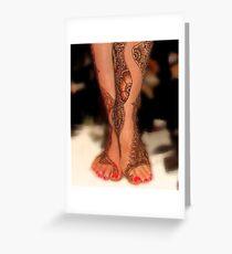 Henna Leg Decor, Henna Tattoo Artwork by Bajidoo Greeting Card