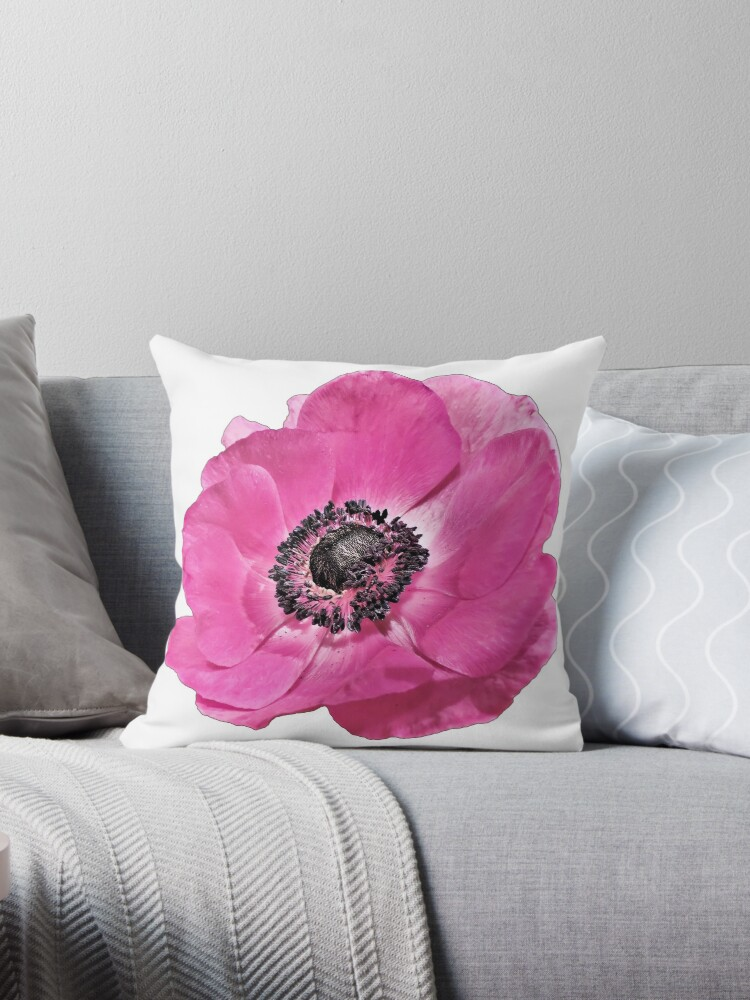Bright Pink Poppy Flower Floral Throw Pillows By TLSDesigns Redbubble Awesome Poppy Floral Decorative Pillows