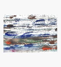 Brown Blue abstract watercolor paper Photographic Print