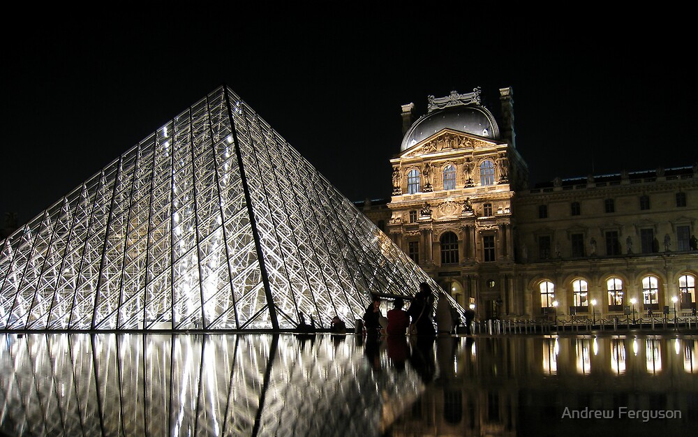 The Louvre with reflection. by Andrew Ferguson