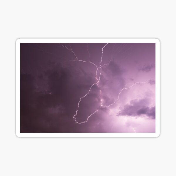 Lightning in storm cloud at night Sticker