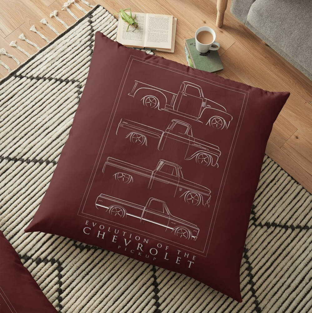 Evolution of the Chevy Pickup  Floor Pillow