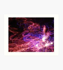 Light painting with fireworks Art Print