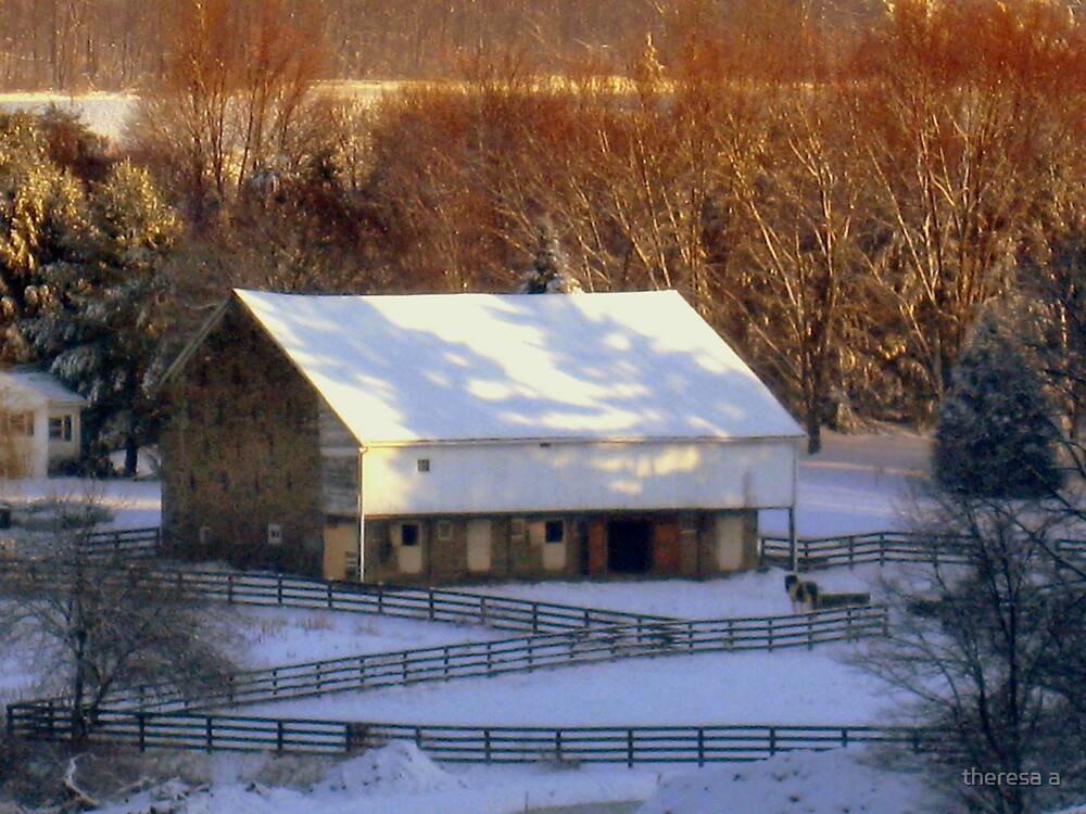 A BARN IN WINTER by theresa a