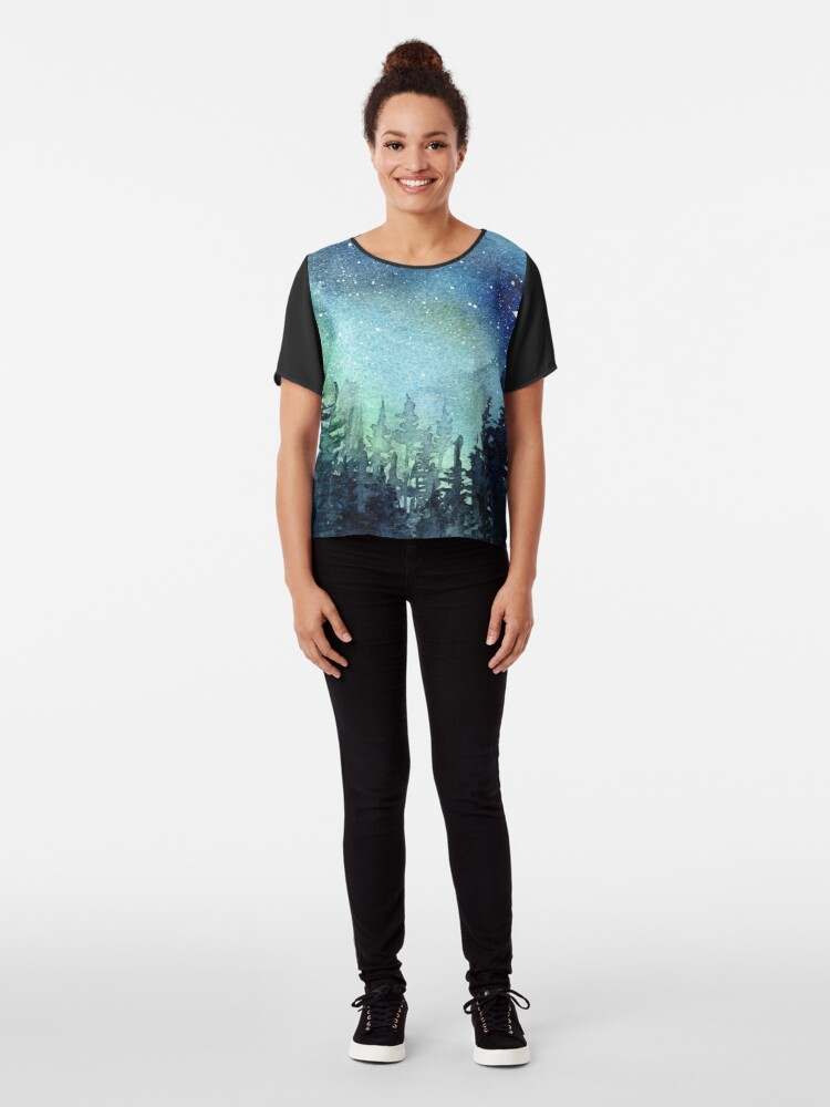 Alternate view of Watercolor Galaxy Nebula Aurora Northern Lights Painting Chiffon Top