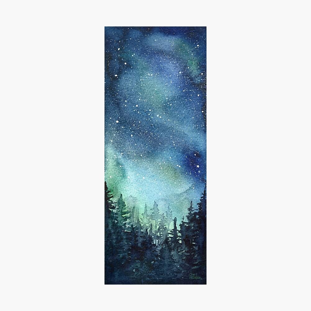 Watercolor Galaxy Nebula Aurora Northern Lights Painting Photographic Print