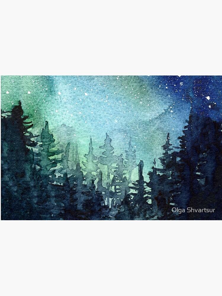 Watercolor Galaxy Nebula Aurora Northern Lights Painting by olga-shvartsur