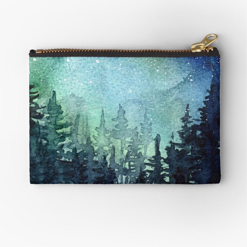 Watercolor Galaxy Nebula Aurora Northern Lights Painting Zipper Pouch