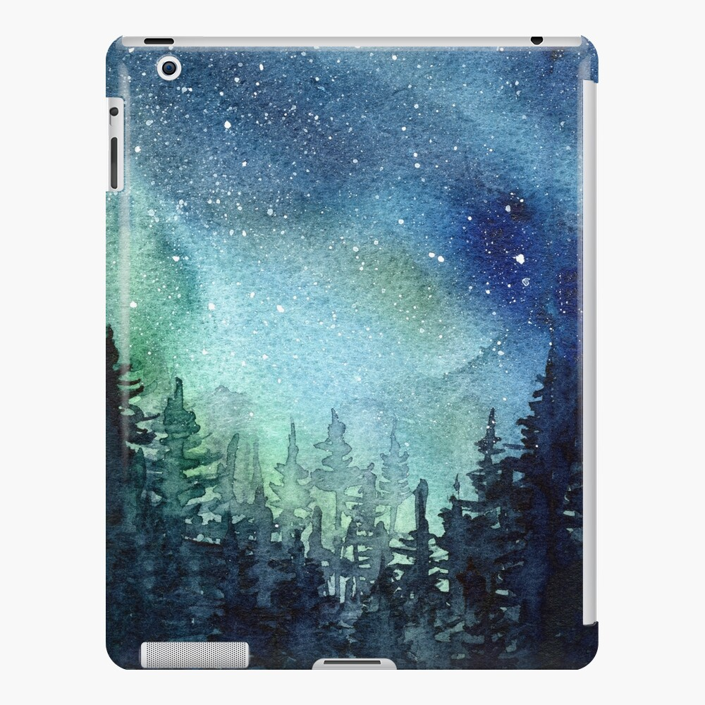 Watercolor Galaxy Nebula Aurora Northern Lights Painting iPad Case & Skin