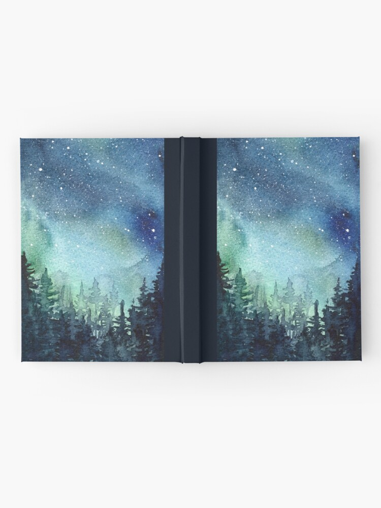 Alternate view of Watercolor Galaxy Nebula Aurora Northern Lights Painting Hardcover Journal