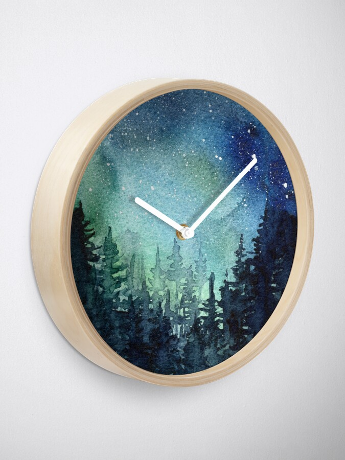 Alternate view of Watercolor Galaxy Nebula Aurora Northern Lights Painting Clock