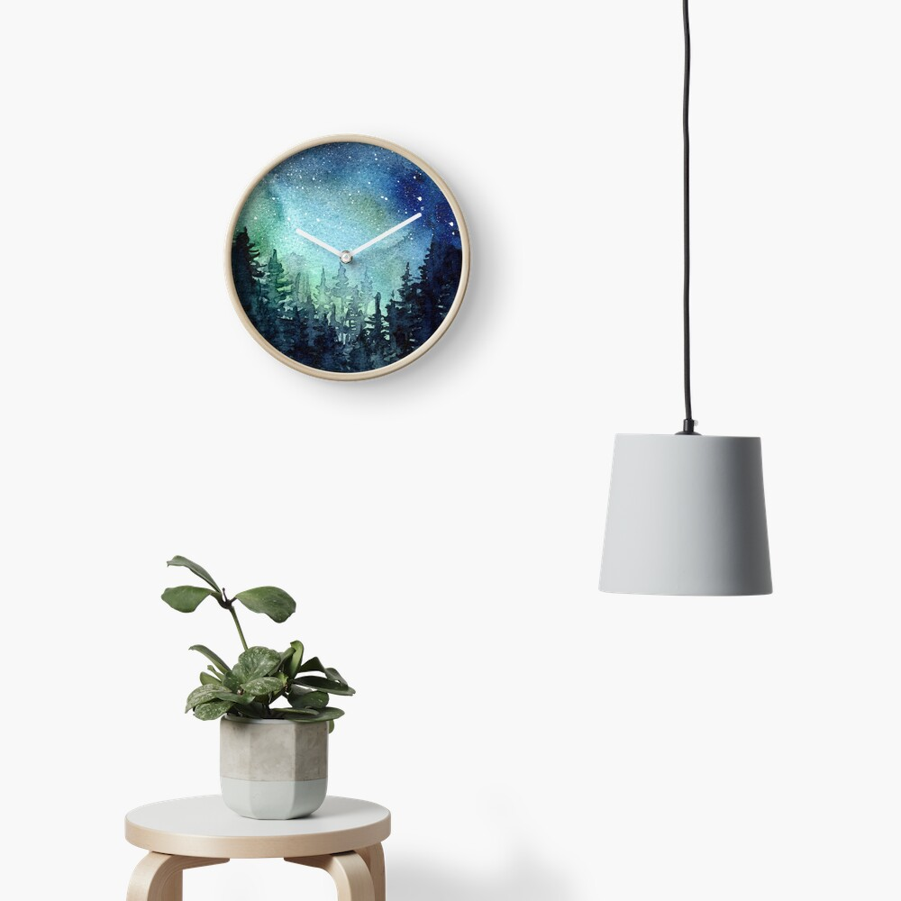 Watercolor Galaxy Nebula Aurora Northern Lights Painting Clock