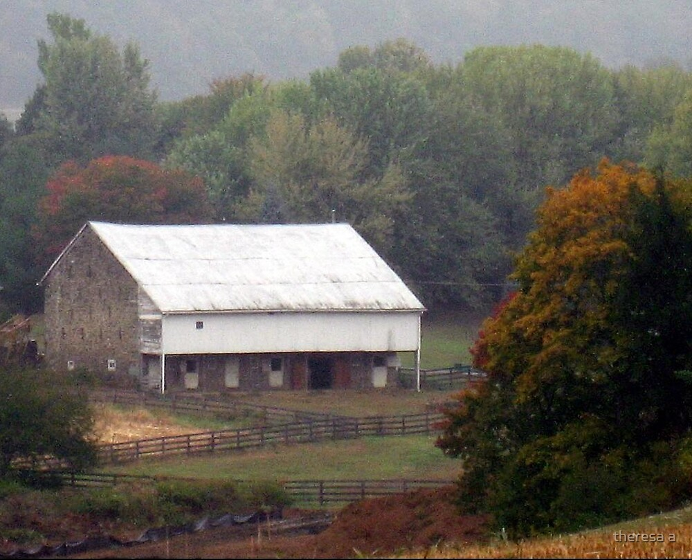 MY BARN IN AUTUMN by theresa a
