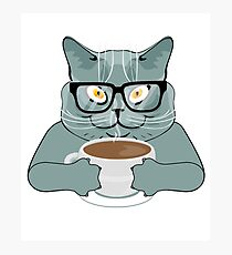 Cats Love Coffee Too Photographic Print