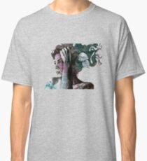 Beneath Broken Earth (street art drawing, woman with leaves and tattoos) Classic T-Shirt