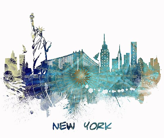 New York City skyline blue by JBJart
