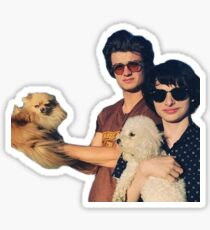 Joe Keery and Finn Wolfhard with doggo - Steve Harrington and Mike - Stranger Things Sticker
