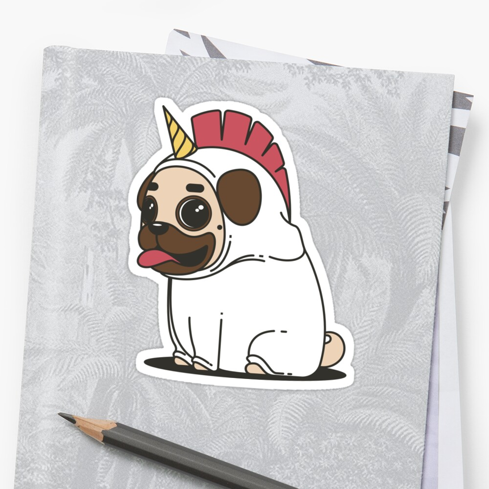 Pug In Unicorn Fever Our Dog As Unicorn Stickers By Noritees