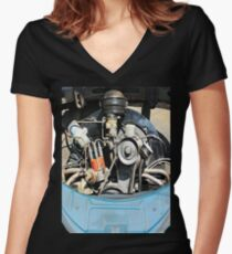 1960 VW Beetle Engine as Art Women's Fitted V-Neck T-Shirt