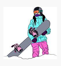 Snowboardig girl black hair Photographic Print