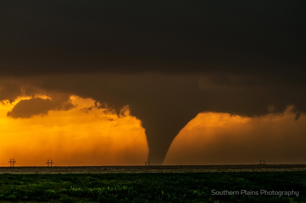 Silhouette - Large Tornado Rumbles Over Kansas by Sean Ramsey
