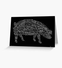 Typographic pig Greeting Card