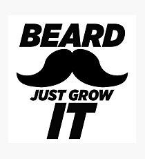 Beard Just Grow It - Funny Nike Parody Sticker T-Shirt Pillow Photographic Print