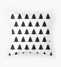 Monochrome Christmas tree Pattern  Throw Pillow